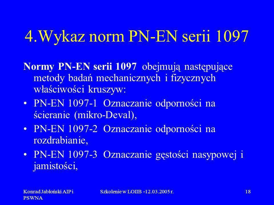 Konrad Jabłoński AIP i PSWNA Szkolenie w LOIIB -12.03.2005 r.18 4.Wykaz norm PN-EN serii 1097 Normy PN-EN serii 1097 obejmują następujące metody badań