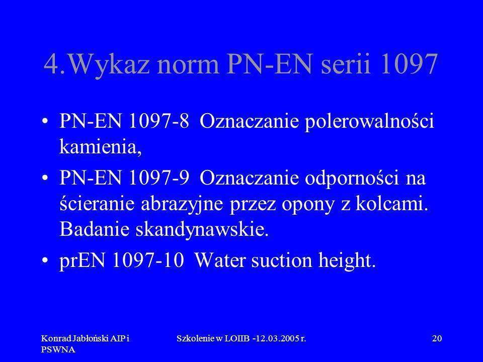 Konrad Jabłoński AIP i PSWNA Szkolenie w LOIIB -12.03.2005 r.20 4.Wykaz norm PN-EN serii 1097 PN-EN 1097-8 Oznaczanie polerowalności kamienia, PN-EN 1