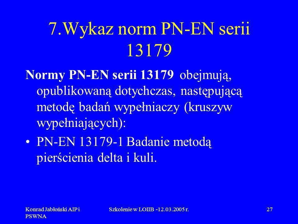 Konrad Jabłoński AIP i PSWNA Szkolenie w LOIIB -12.03.2005 r.27 7.Wykaz norm PN-EN serii 13179 Normy PN-EN serii 13179 obejmują, opublikowaną dotychcz
