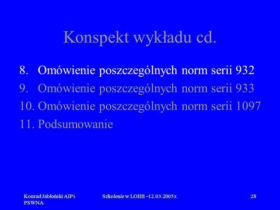 Konrad Jabłoński AIP i PSWNA Szkolenie w LOIIB -12.03.2005 r.28 Konspekt wykładu cd. 8.Omówienie poszczególnych norm serii 932 9.Omówienie poszczególn