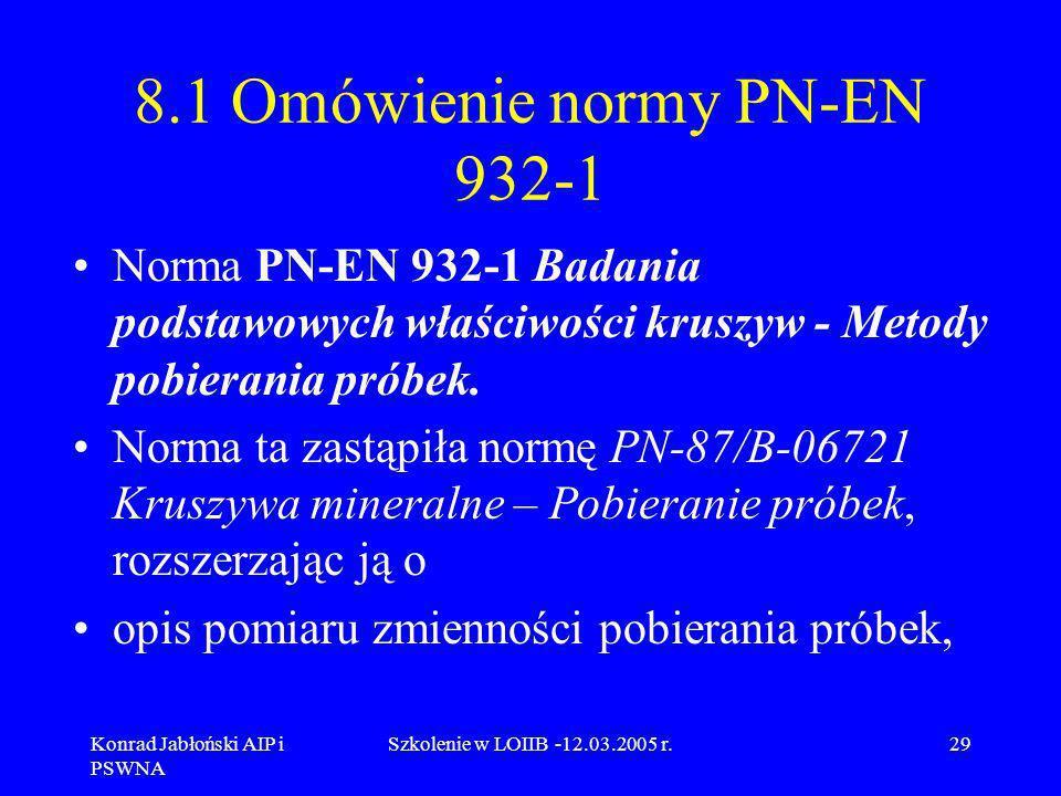 Konrad Jabłoński AIP i PSWNA Szkolenie w LOIIB -12.03.2005 r.29 8.1 Omówienie normy PN-EN 932-1 Norma PN-EN 932-1 Badania podstawowych właściwości kru