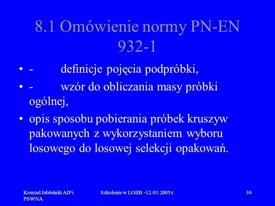 Konrad Jabłoński AIP i PSWNA Szkolenie w LOIIB -12.03.2005 r.30 8.1 Omówienie normy PN-EN 932-1 - definicje pojęcia podpróbki, - wzór do obliczania ma