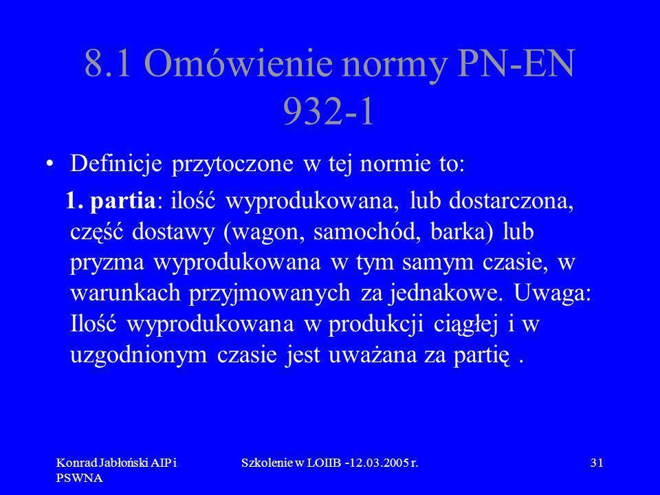 Konrad Jabłoński AIP i PSWNA Szkolenie w LOIIB -12.03.2005 r.31 8.1 Omówienie normy PN-EN 932-1 Definicje przytoczone w tej normie to: 1. partia: iloś