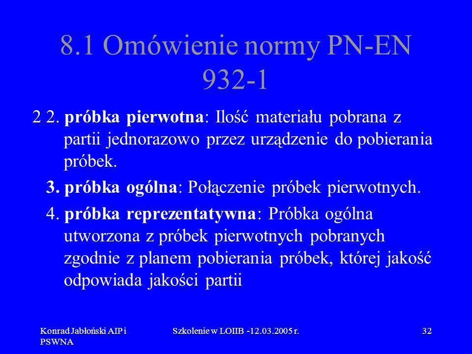 Konrad Jabłoński AIP i PSWNA Szkolenie w LOIIB -12.03.2005 r.32 8.1 Omówienie normy PN-EN 932-1 2 2. próbka pierwotna: Ilość materiału pobrana z parti