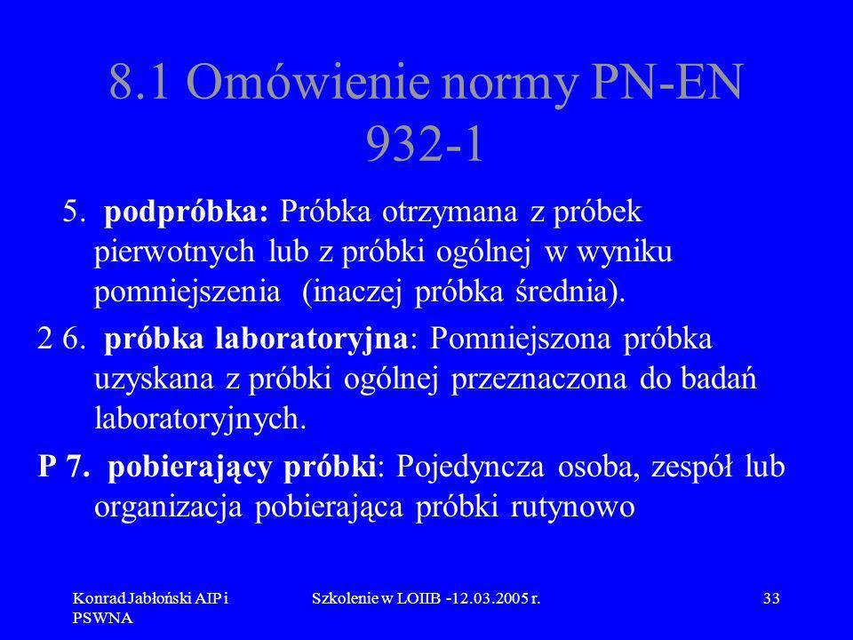 Konrad Jabłoński AIP i PSWNA Szkolenie w LOIIB -12.03.2005 r.33 8.1 Omówienie normy PN-EN 932-1 5. podpróbka: Próbka otrzymana z próbek pierwotnych lu