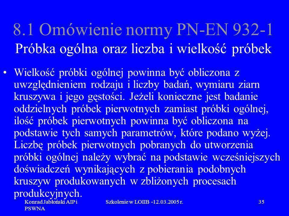 Konrad Jabłoński AIP i PSWNA Szkolenie w LOIIB -12.03.2005 r.35 8.1 Omówienie normy PN-EN 932-1 Próbka ogólna oraz liczba i wielkość próbek Wielkość p