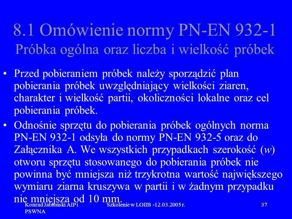 Konrad Jabłoński AIP i PSWNA Szkolenie w LOIIB -12.03.2005 r.37 8.1 Omówienie normy PN-EN 932-1 Próbka ogólna oraz liczba i wielkość próbek Przed pobi