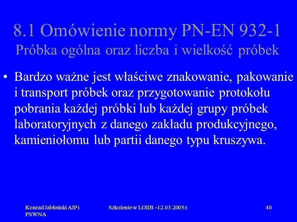 Konrad Jabłoński AIP i PSWNA Szkolenie w LOIIB -12.03.2005 r.40 8.1 Omówienie normy PN-EN 932-1 Próbka ogólna oraz liczba i wielkość próbek Bardzo waż