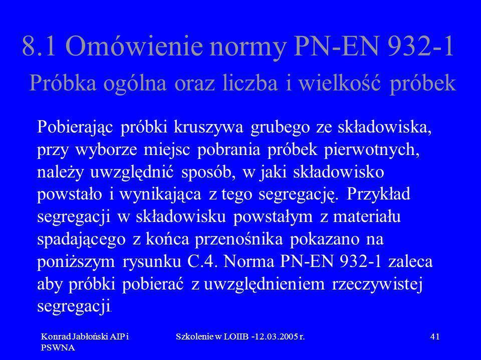Konrad Jabłoński AIP i PSWNA Szkolenie w LOIIB -12.03.2005 r.41 8.1 Omówienie normy PN-EN 932-1 Próbka ogólna oraz liczba i wielkość próbek Pobierając