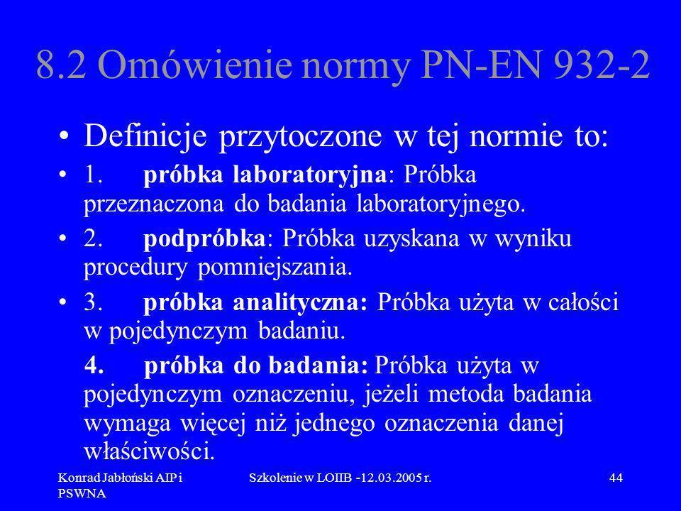 Konrad Jabłoński AIP i PSWNA Szkolenie w LOIIB -12.03.2005 r.44 8.2 Omówienie normy PN-EN 932-2 Definicje przytoczone w tej normie to: 1. próbka labor