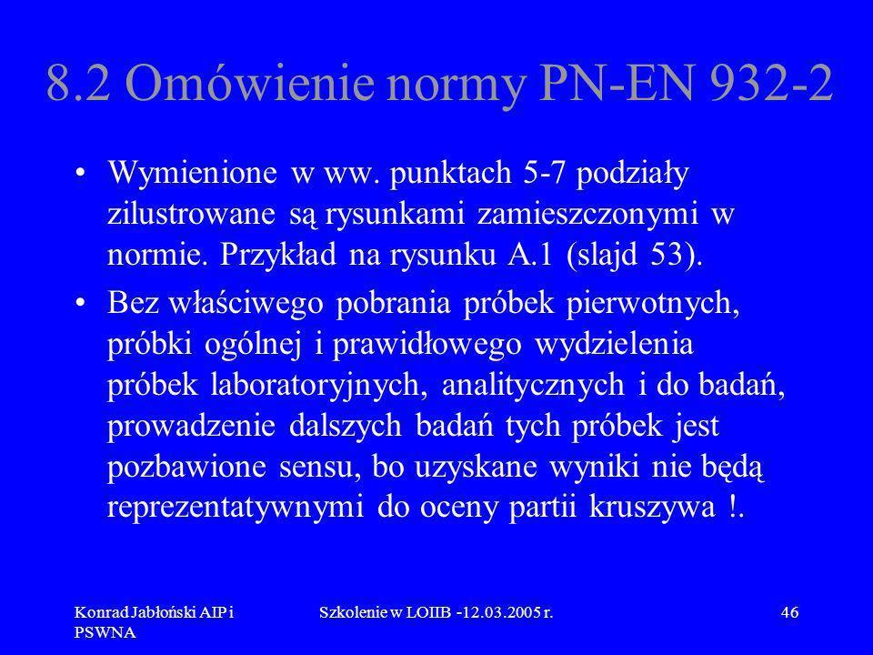 Konrad Jabłoński AIP i PSWNA Szkolenie w LOIIB -12.03.2005 r.46 8.2 Omówienie normy PN-EN 932-2 Wymienione w ww. punktach 5-7 podziały zilustrowane są