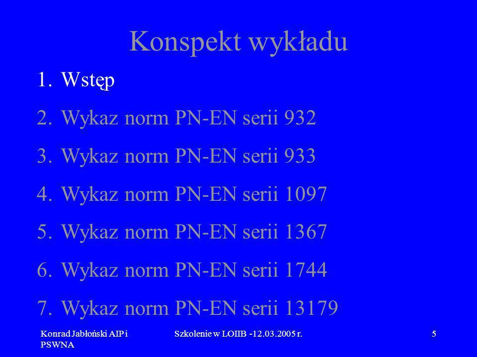 Konrad Jabłoński AIP i PSWNA Szkolenie w LOIIB -12.03.2005 r.36 8.1 Omówienie normy PN-EN 932-1 Próbka ogólna oraz liczba i wielkość próbek Zaleca się, aby najmniejsza masa próbki ogólnej była obliczana zgodnie z następującym równaniem: M = 6 x D x b w którym: M – masa próbki w kilogramach; D - maksymalny wymiar ziarna, w milimetrach; b – gęstość nasypowa w stanie luźnym, w Mg/m 3, oznaczana wg PN-EN 1097-3.