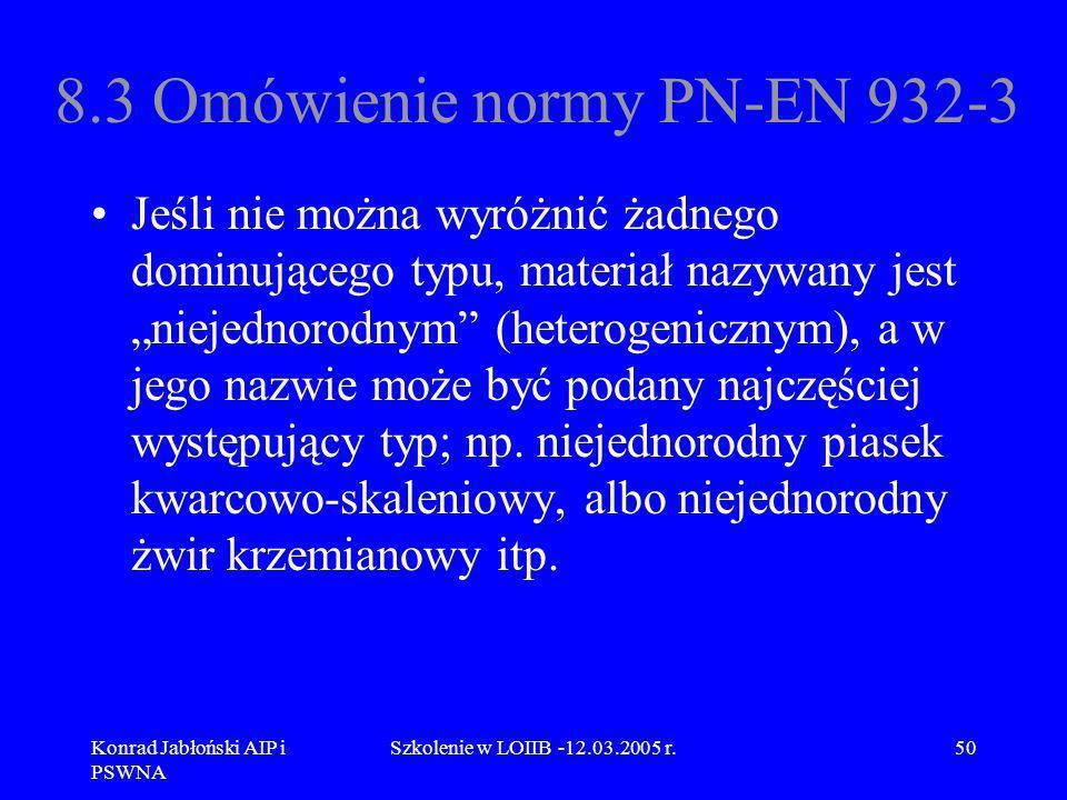 Konrad Jabłoński AIP i PSWNA Szkolenie w LOIIB -12.03.2005 r.50 8.3 Omówienie normy PN-EN 932-3 Jeśli nie można wyróżnić żadnego dominującego typu, ma