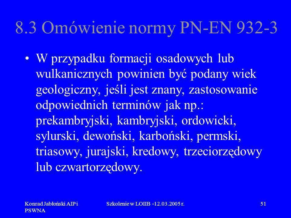 Konrad Jabłoński AIP i PSWNA Szkolenie w LOIIB -12.03.2005 r.51 8.3 Omówienie normy PN-EN 932-3 W przypadku formacji osadowych lub wulkanicznych powin