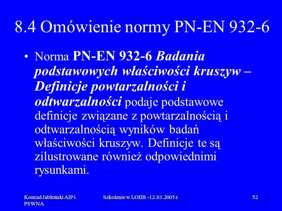 Konrad Jabłoński AIP i PSWNA Szkolenie w LOIIB -12.03.2005 r.52 8.4 Omówienie normy PN-EN 932-6 Norma PN-EN 932-6 Badania podstawowych właściwości kru