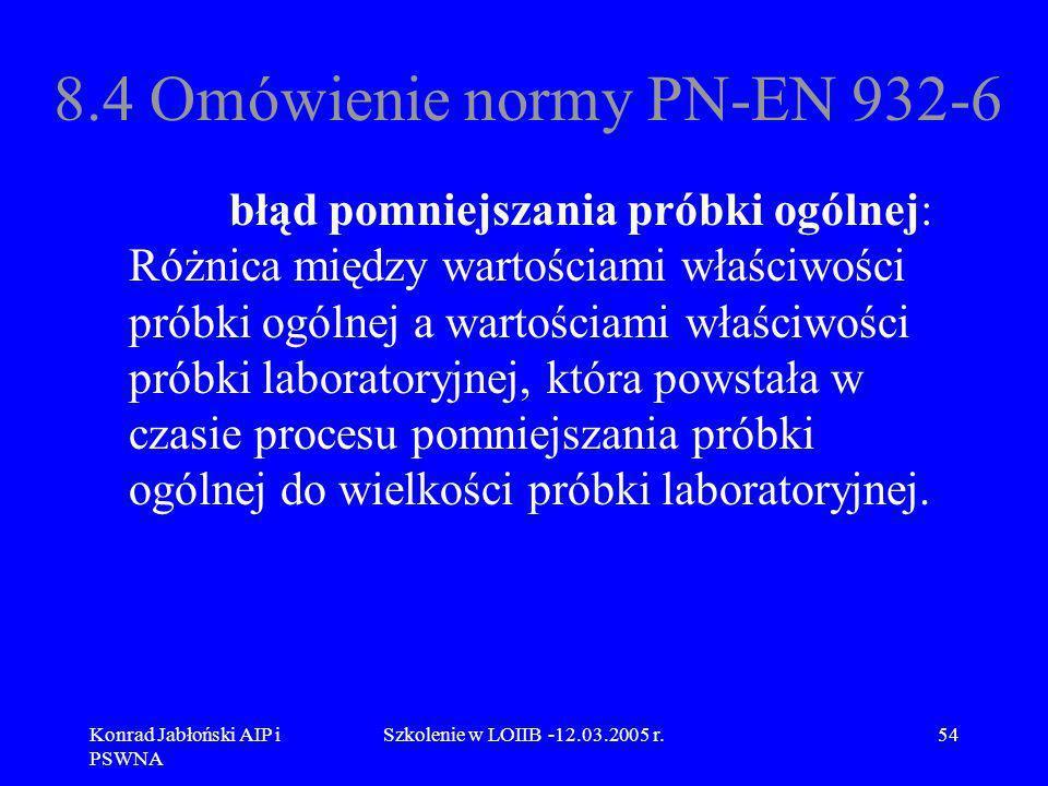 Konrad Jabłoński AIP i PSWNA Szkolenie w LOIIB -12.03.2005 r.54 8.4 Omówienie normy PN-EN 932-6 błąd pomniejszania próbki ogólnej: Różnica między wart
