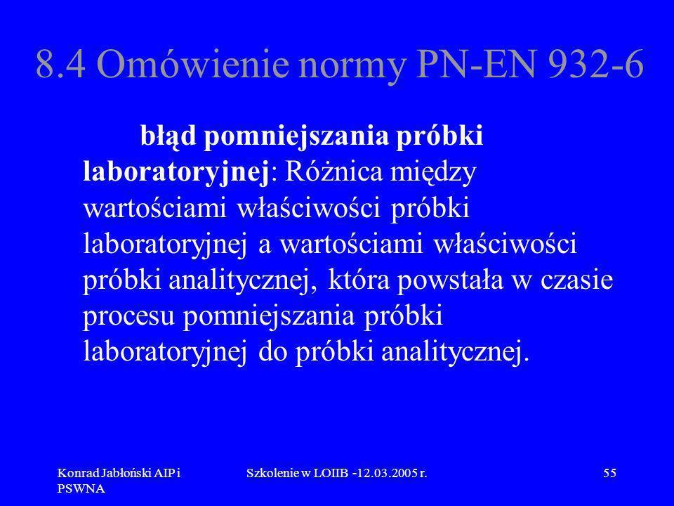 Konrad Jabłoński AIP i PSWNA Szkolenie w LOIIB -12.03.2005 r.55 8.4 Omówienie normy PN-EN 932-6 błąd pomniejszania próbki laboratoryjnej: Różnica międ