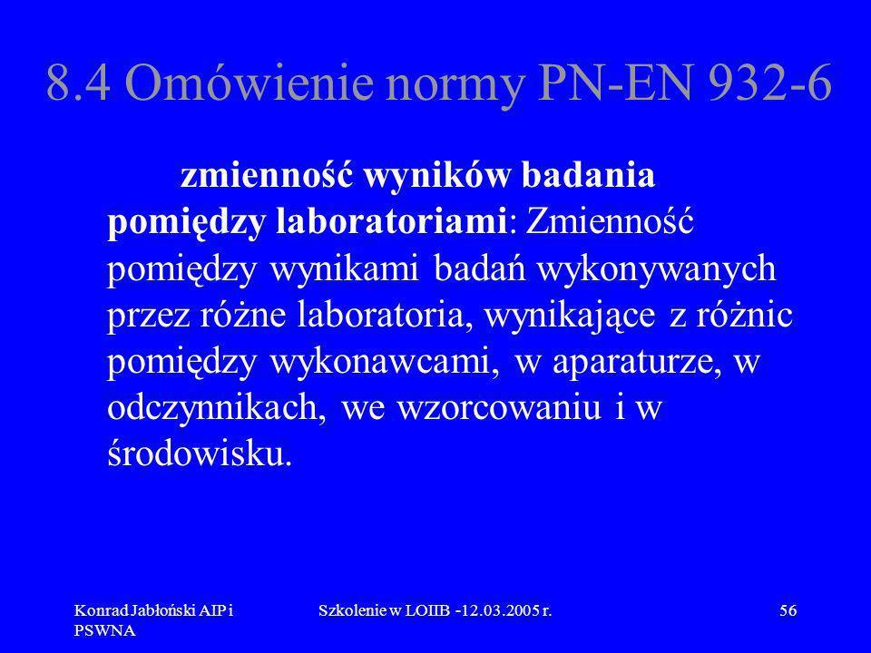 Konrad Jabłoński AIP i PSWNA Szkolenie w LOIIB -12.03.2005 r.56 8.4 Omówienie normy PN-EN 932-6 zmienność wyników badania pomiędzy laboratoriami: Zmie