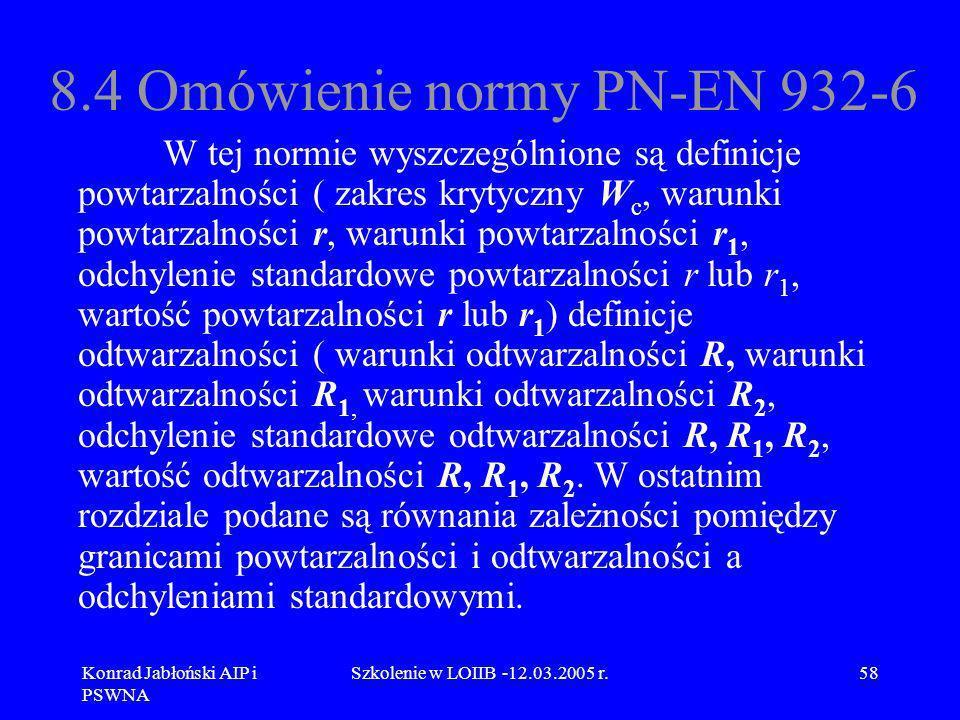 Konrad Jabłoński AIP i PSWNA Szkolenie w LOIIB -12.03.2005 r.58 8.4 Omówienie normy PN-EN 932-6 W tej normie wyszczególnione są definicje powtarzalnoś