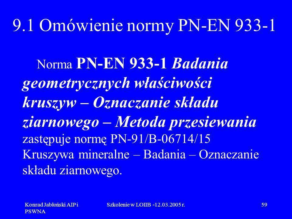 Konrad Jabłoński AIP i PSWNA Szkolenie w LOIIB -12.03.2005 r.59 9.1 Omówienie normy PN-EN 933-1 Norma PN-EN 933-1 Badania geometrycznych właściwości k