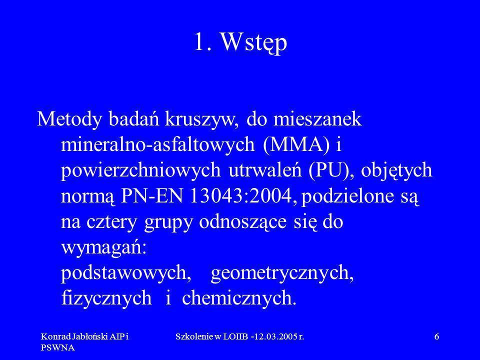 Konrad Jabłoński AIP i PSWNA Szkolenie w LOIIB -12.03.2005 r.77 9.4 Omówienie normy PN-EN 933-4 Zasada normy PN-EN 933-4 Badania geometrycznych właściwości kruszyw – Oznaczanie kształtu ziarn - Wskaźnik kształtu jest bardzo zbliżona do dotychczasowej normy PN-78/B-06714/16 Kruszywo mineralne – Badania – Oznaczanie kształtu ziarn.