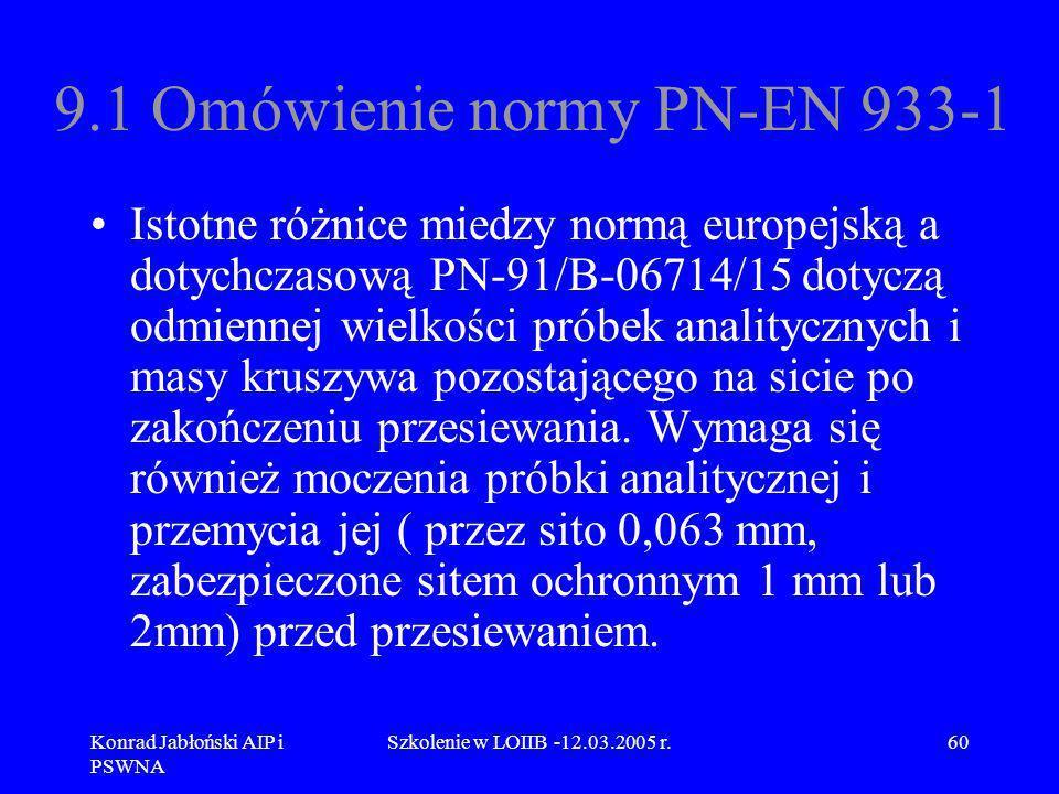 Konrad Jabłoński AIP i PSWNA Szkolenie w LOIIB -12.03.2005 r.60 9.1 Omówienie normy PN-EN 933-1 Istotne różnice miedzy normą europejską a dotychczasow