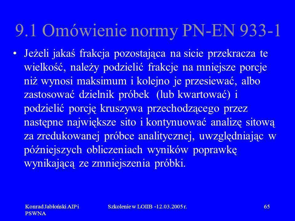 Konrad Jabłoński AIP i PSWNA Szkolenie w LOIIB -12.03.2005 r.65 9.1 Omówienie normy PN-EN 933-1 Jeżeli jakaś frakcja pozostająca na sicie przekracza t