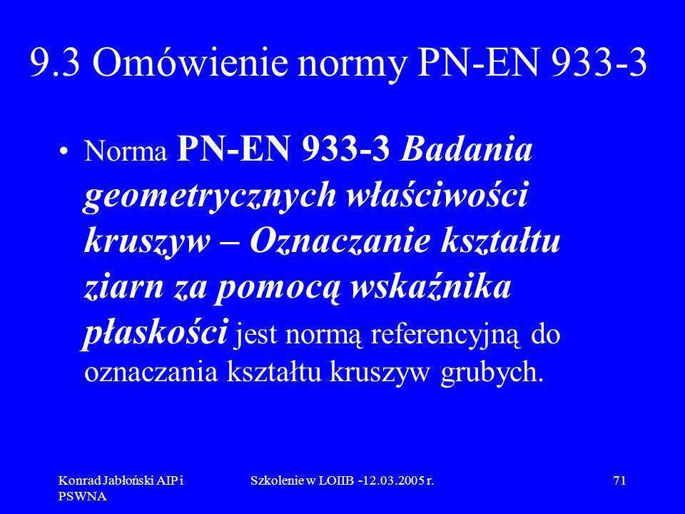 Konrad Jabłoński AIP i PSWNA Szkolenie w LOIIB -12.03.2005 r.71 9.3 Omówienie normy PN-EN 933-3 Norma PN-EN 933-3 Badania geometrycznych właściwości k