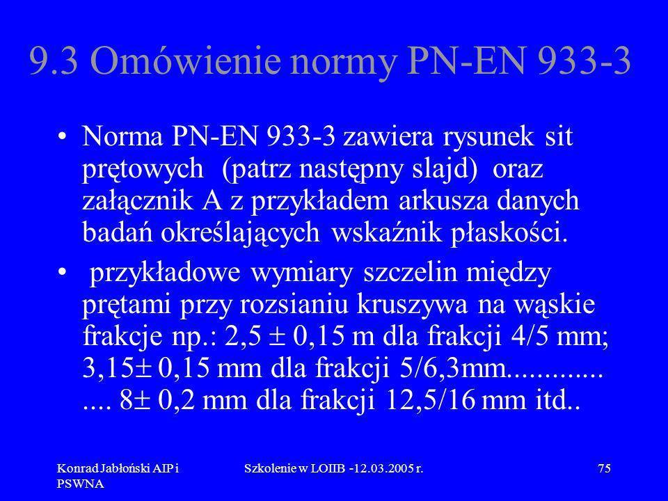 Konrad Jabłoński AIP i PSWNA Szkolenie w LOIIB -12.03.2005 r.75 9.3 Omówienie normy PN-EN 933-3 Norma PN-EN 933-3 zawiera rysunek sit prętowych (patrz