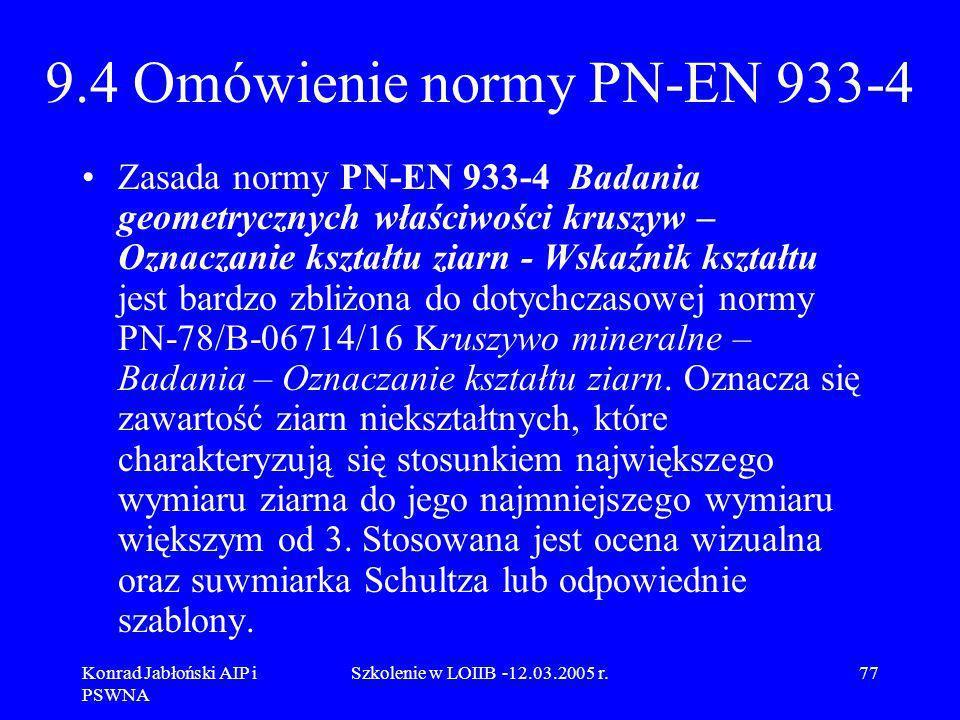 Konrad Jabłoński AIP i PSWNA Szkolenie w LOIIB -12.03.2005 r.77 9.4 Omówienie normy PN-EN 933-4 Zasada normy PN-EN 933-4 Badania geometrycznych właści