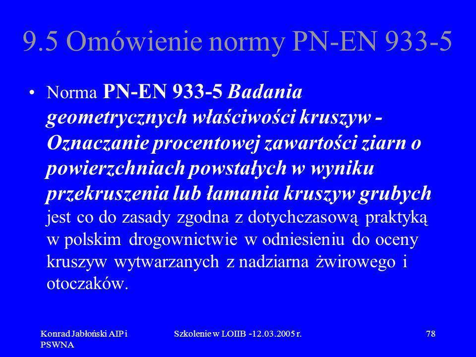 Konrad Jabłoński AIP i PSWNA Szkolenie w LOIIB -12.03.2005 r.78 9.5 Omówienie normy PN-EN 933-5 Norma PN-EN 933-5 Badania geometrycznych właściwości k