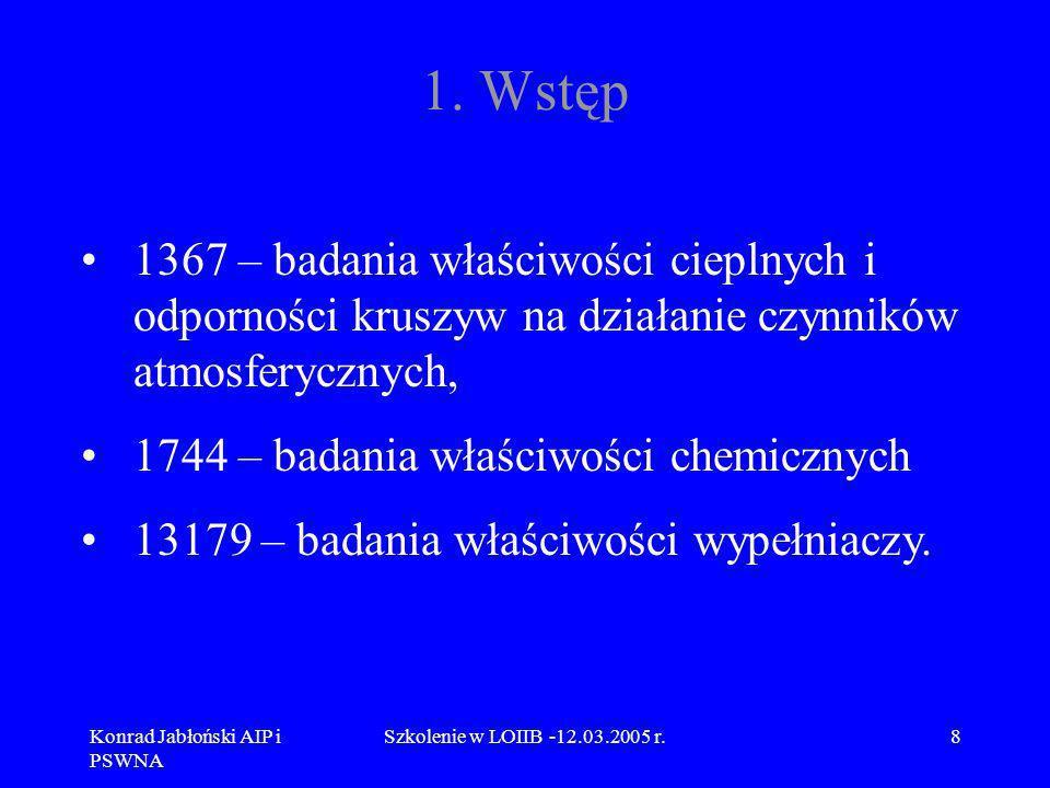 Konrad Jabłoński AIP i PSWNA Szkolenie w LOIIB -12.03.2005 r.19 4.Wykaz norm PN-EN serii 1097 PN-EN 1097-4 Oznaczanie pustych przestrzeni suchego, zagęszczonego wypełniacza PN-EN 1097-5 Oznaczanie zawartości wody przez suszenie w suszarce z wentylacją, PN-EN 1097-6 Oznaczanie gęstości ziarn i nasiąkliwości, PN-EN 1097-7 Oznaczanie gęstości wypełniacza.