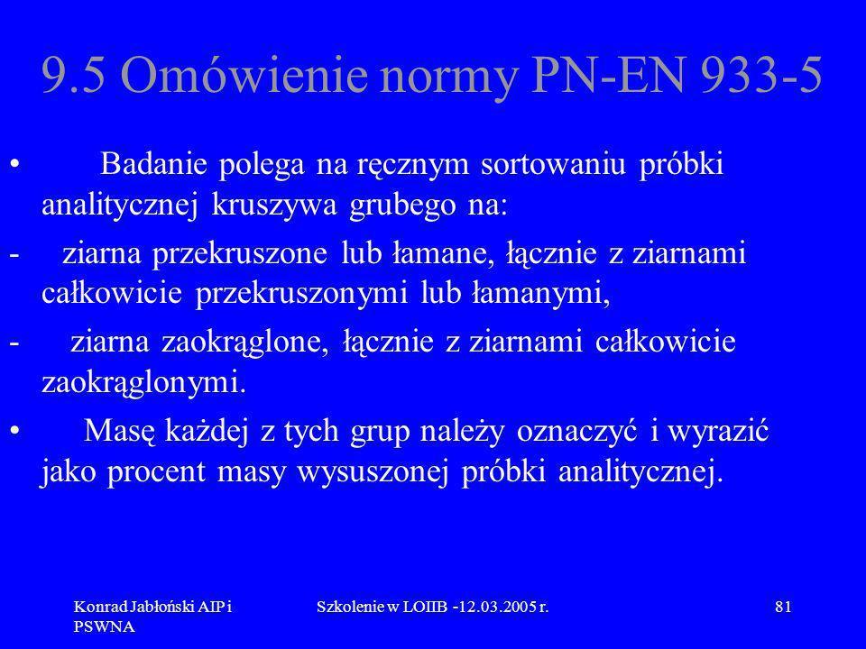 Konrad Jabłoński AIP i PSWNA Szkolenie w LOIIB -12.03.2005 r.81 9.5 Omówienie normy PN-EN 933-5 Badanie polega na ręcznym sortowaniu próbki analityczn