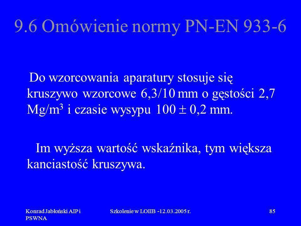 Konrad Jabłoński AIP i PSWNA Szkolenie w LOIIB -12.03.2005 r.85 9.6 Omówienie normy PN-EN 933-6 Do wzorcowania aparatury stosuje się kruszywo wzorcowe