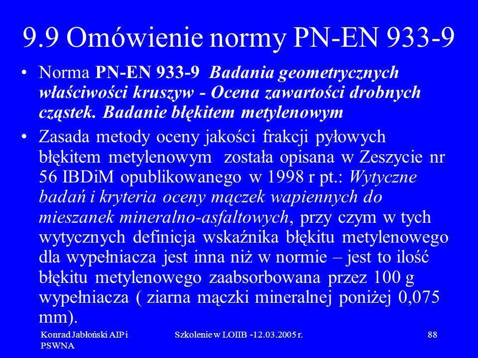 Konrad Jabłoński AIP i PSWNA Szkolenie w LOIIB -12.03.2005 r.88 9.9 Omówienie normy PN-EN 933-9 Norma PN-EN 933-9 Badania geometrycznych właściwości k