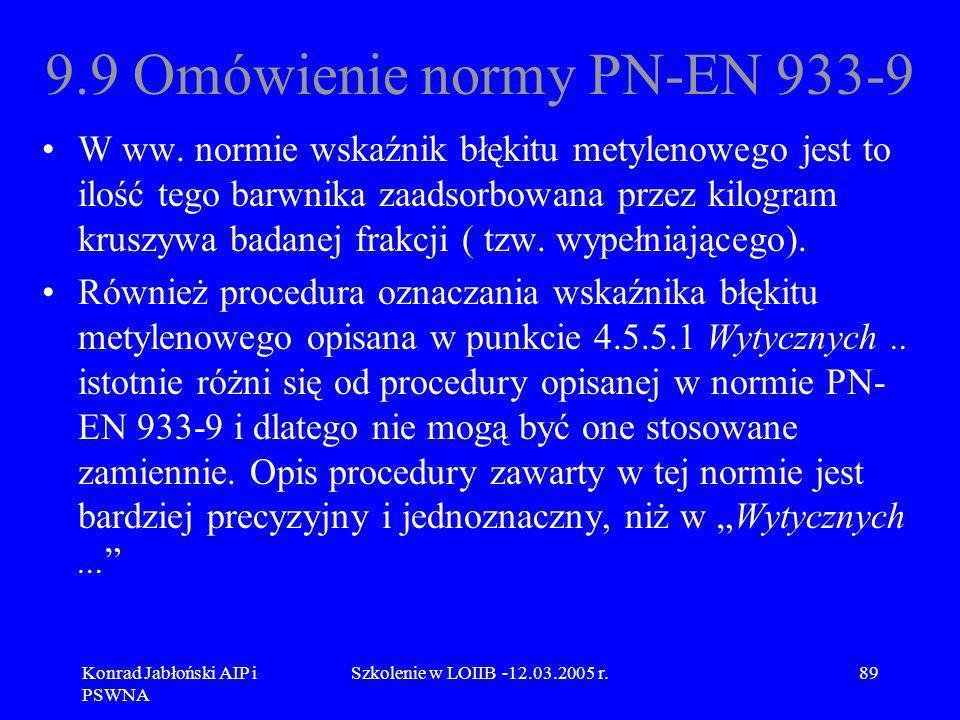 Konrad Jabłoński AIP i PSWNA Szkolenie w LOIIB -12.03.2005 r.89 9.9 Omówienie normy PN-EN 933-9 W ww. normie wskaźnik błękitu metylenowego jest to ilo