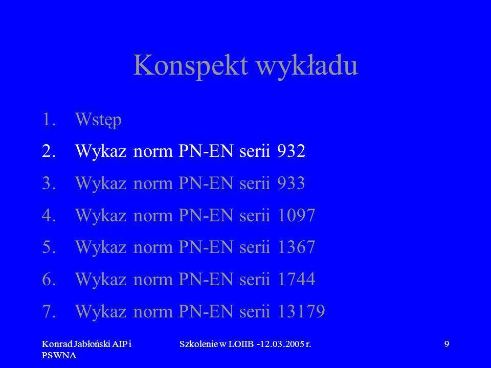 Konrad Jabłoński AIP i PSWNA Szkolenie w LOIIB -12.03.2005 r.10 2.Wykaz norm PN-EN serii 932 Normy PN-EN serii 932 obejmują następujące metody badań podstawowych właściwości kruszyw: PN-EN 932-1 Metody pobierania próbek, PN-EN 932-2 Metody pomniejszania próbek laboratoryjnych PN-EN 932-3 Procedura i terminologia uproszczonego opisu petrograficznego,