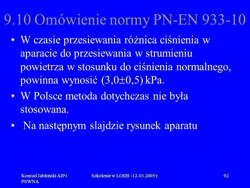 Konrad Jabłoński AIP i PSWNA Szkolenie w LOIIB -12.03.2005 r.92 9.10 Omówienie normy PN-EN 933-10 W czasie przesiewania różnica ciśnienia w aparacie d