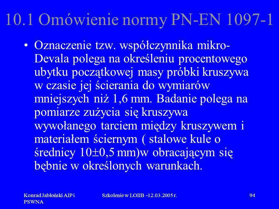Konrad Jabłoński AIP i PSWNA Szkolenie w LOIIB -12.03.2005 r.94 10.1 Omówienie normy PN-EN 1097-1 Oznaczenie tzw. współczynnika mikro- Devala polega n