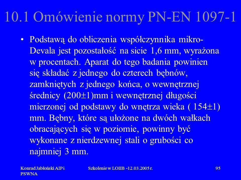Konrad Jabłoński AIP i PSWNA Szkolenie w LOIIB -12.03.2005 r.95 10.1 Omówienie normy PN-EN 1097-1 Podstawą do obliczenia współczynnika mikro- Devala j
