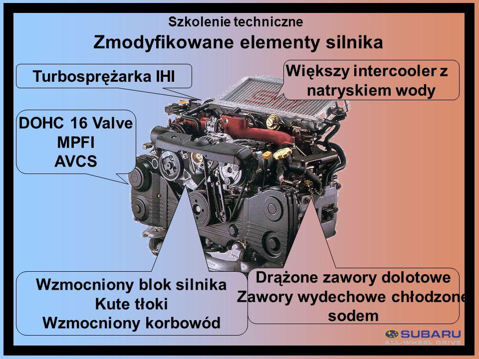 Szkolenie techniczne DOHC 16 Valve MPFI AVCS Większy intercooler z natryskiem wody Turbosprężarka IHI Wzmocniony blok silnika Kute tłoki Wzmocniony ko