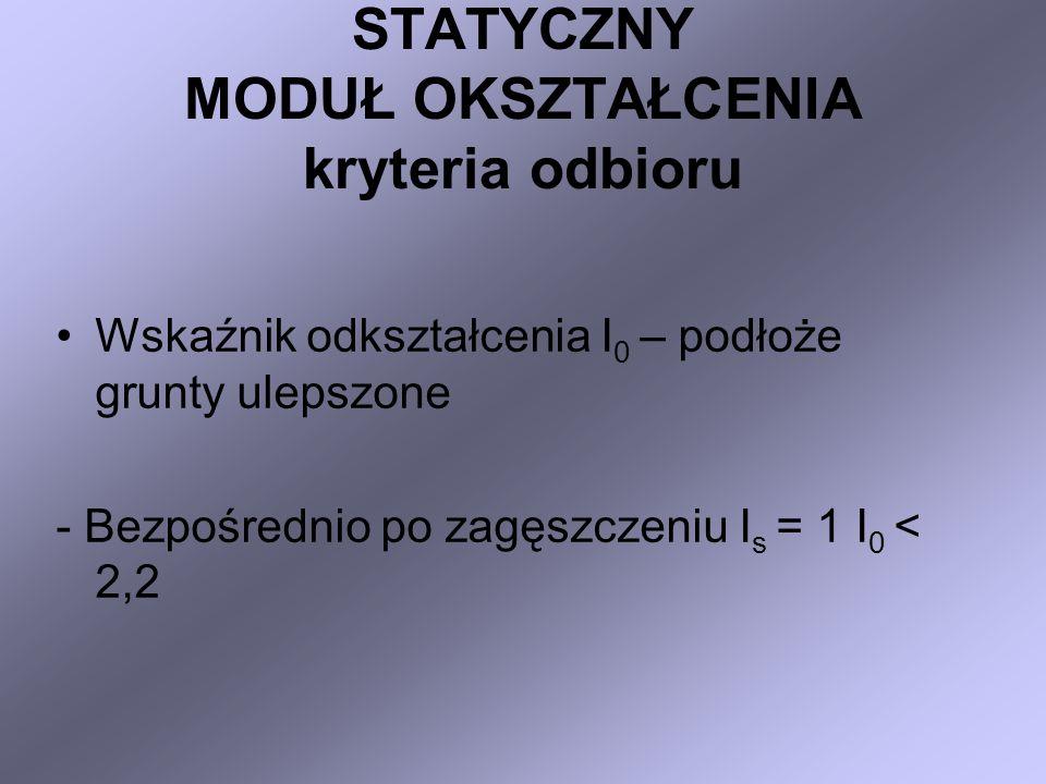 STATYCZNY MODUŁ OKSZTAŁCENIA kryteria odbioru Wskaźnik odkształcenia I 0 – podłoże grunty ulepszone - Bezpośrednio po zagęszczeniu I s = 1 I 0 < 2,2