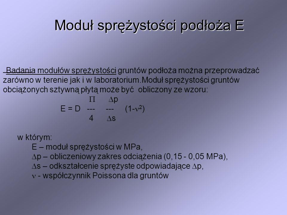 Moduł sprężystości podłoża E Badania modułów sprężystości gruntów podłoża można przeprowadzać zarówno w terenie jak i w laboratorium.Moduł sprężystośc