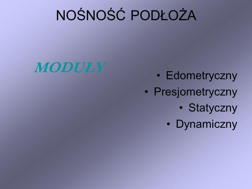 Edometryczny moduł ściśliwości pierwotnej (ogólny) – M 0 Edometryczny moduł ściśliwości wtórnej (sprężystej) – M Moduł osiadania gruntu – E s Moduł pierwotnego (ogólnego) odkształcenia gruntu – E 0 Moduł wtórnego (sprężystego) odkształcenia gruntu – E LABORATORYJNE METODY BADAWCZE
