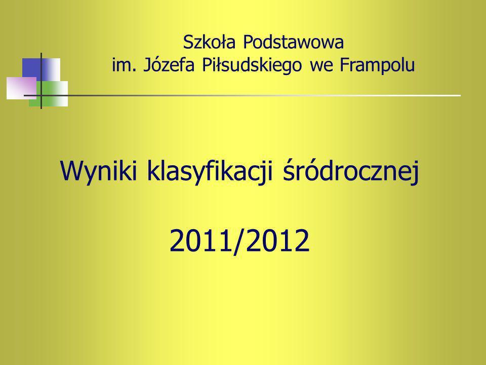 Wyniki klasyfikacji śródrocznej 2011/2012 Szkoła Podstawowa im. Józefa Piłsudskiego we Frampolu