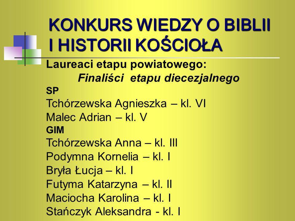 KONKURS WIEDZY O BIBLII I HISTORII KOŚCIOŁA Laureaci etapu powiatowego: Finaliści etapu diecezjalnego SP Tchórzewska Agnieszka – kl. VI Malec Adrian –