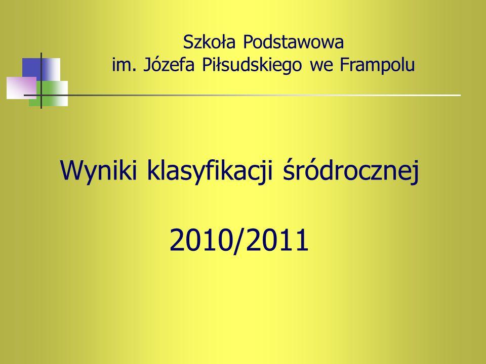 Wyniki klasyfikacji śródrocznej 2010/2011 Szkoła Podstawowa im. Józefa Piłsudskiego we Frampolu