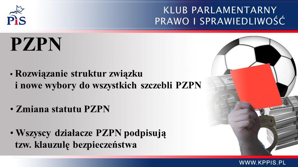 PZPN Rozwiązanie struktur związku i nowe wybory do wszystkich szczebli PZPN Zmiana statutu PZPN Wszyscy działacze PZPN podpisują tzw.