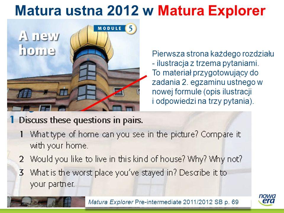 Matura ustna 2012 w Matura Explorer Pierwsza strona każdego rozdziału - ilustracja z trzema pytaniami. To materiał przygotowujący do zadania 2. egzami