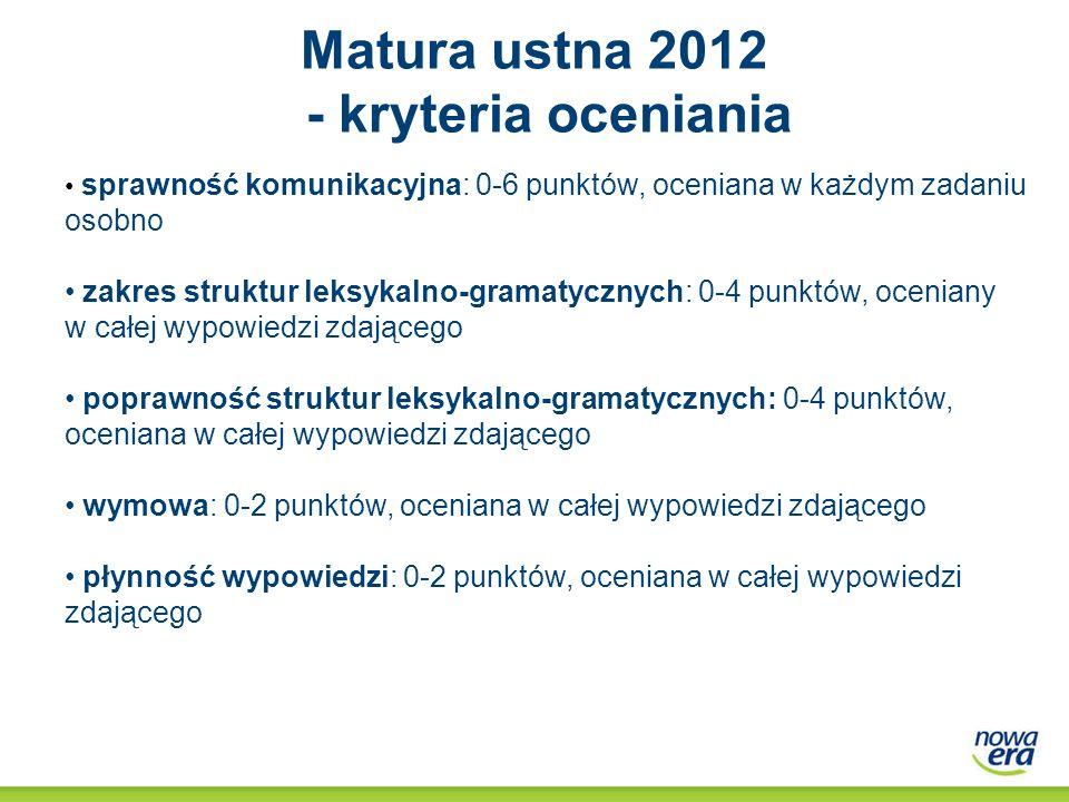 Matura ustna 2012 - kryteria oceniania sprawność komunikacyjna: 0-6 punktów, oceniana w każdym zadaniu osobno zakres struktur leksykalno-gramatycznych